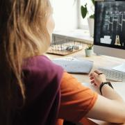 student participating in online teaching