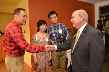 Chancellor Philip P. DiStefano meets with international students and their families