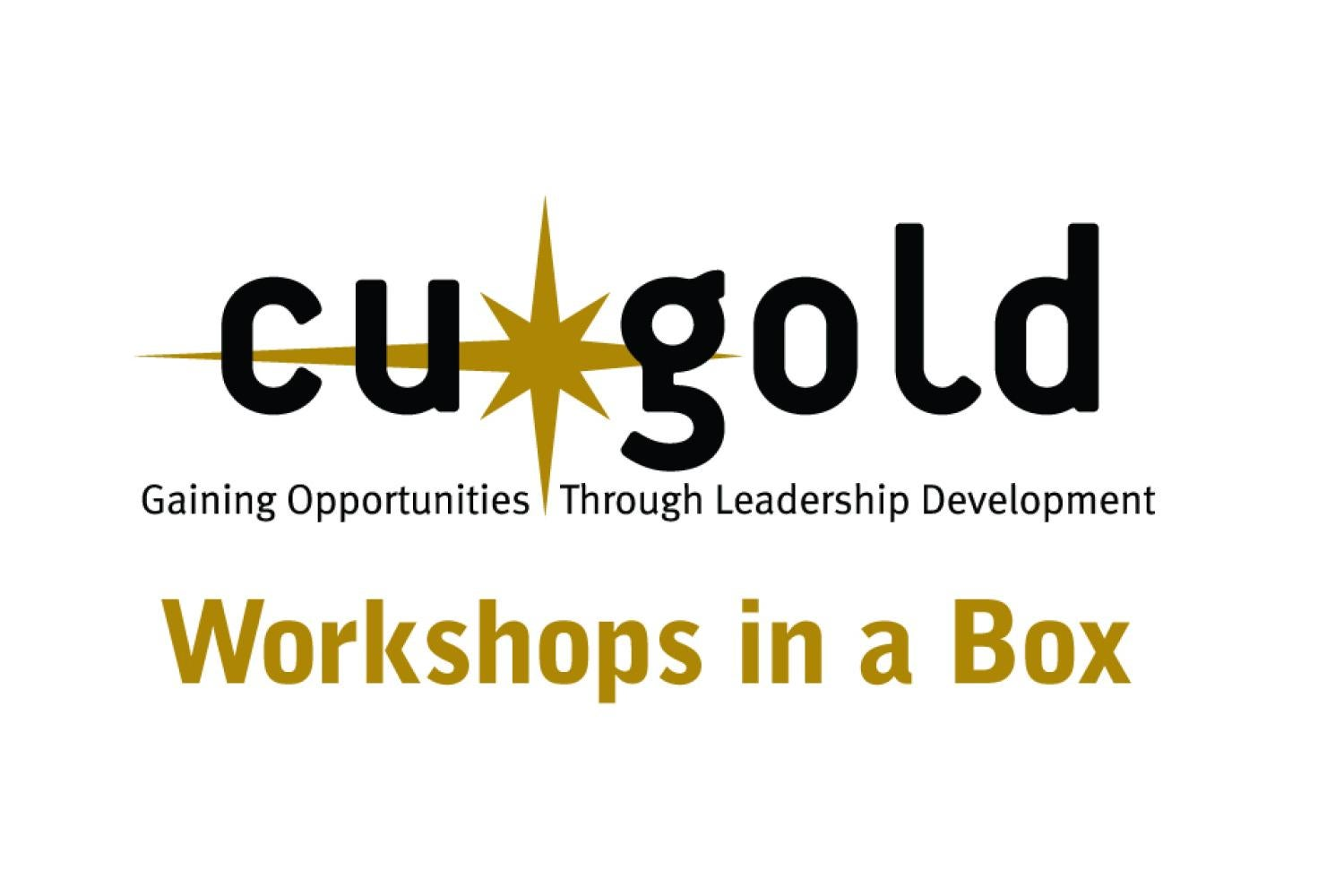 """Image showing the """"CU GOLD WORKSHOPS IN A BOX"""" with a starburst"""
