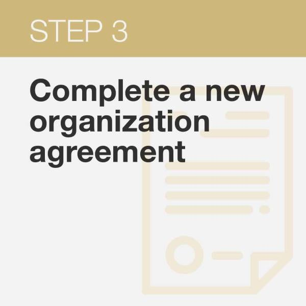 click here is get the link that will take you to BuffConnect to complete the new organizations agreement