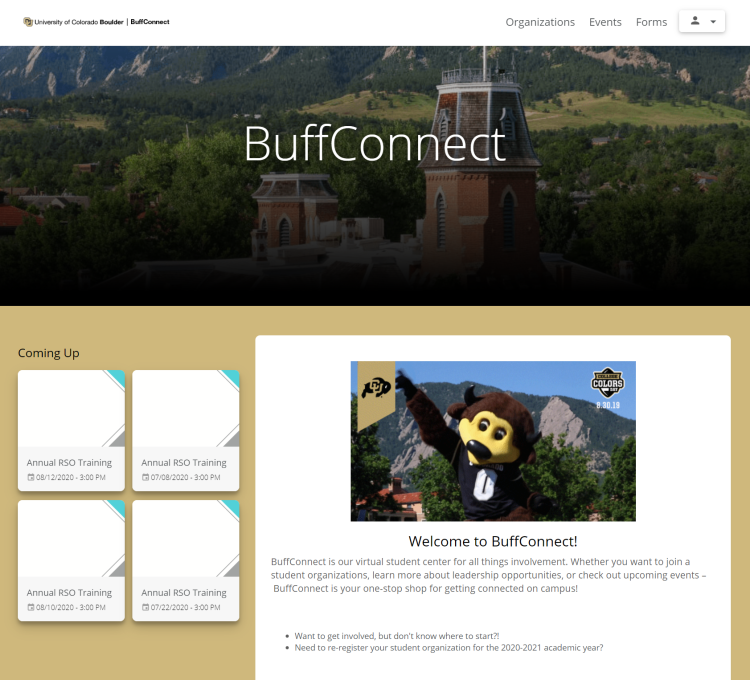 BuffConnect homepage
