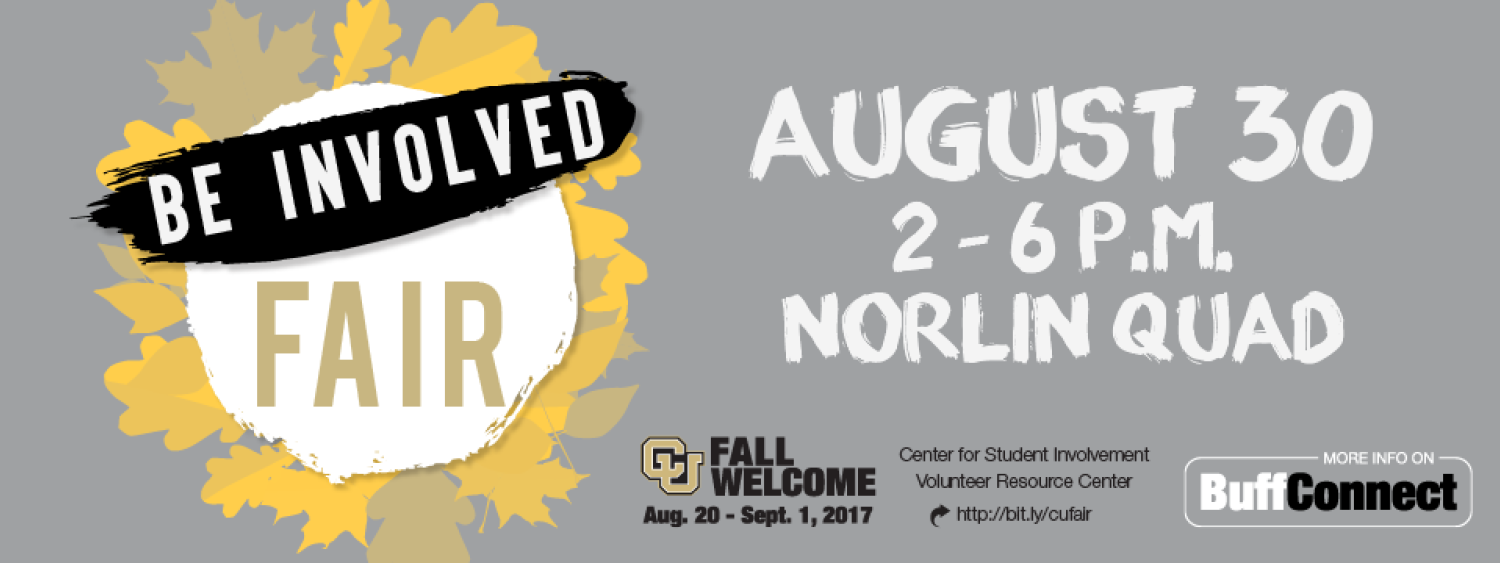 Be Involved Fai August 30th 2 to 6 p m on Norlin Quad