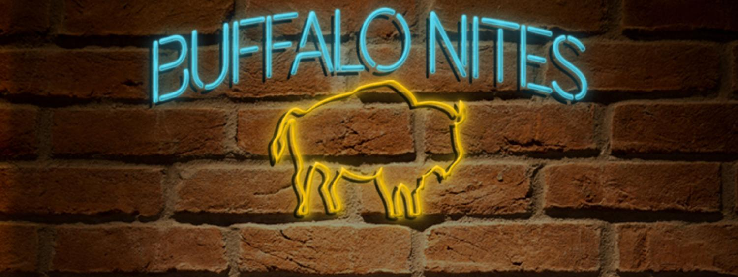 Buffalo Nights image for a free monthly program that includes activities such as making crafts or entertainment.