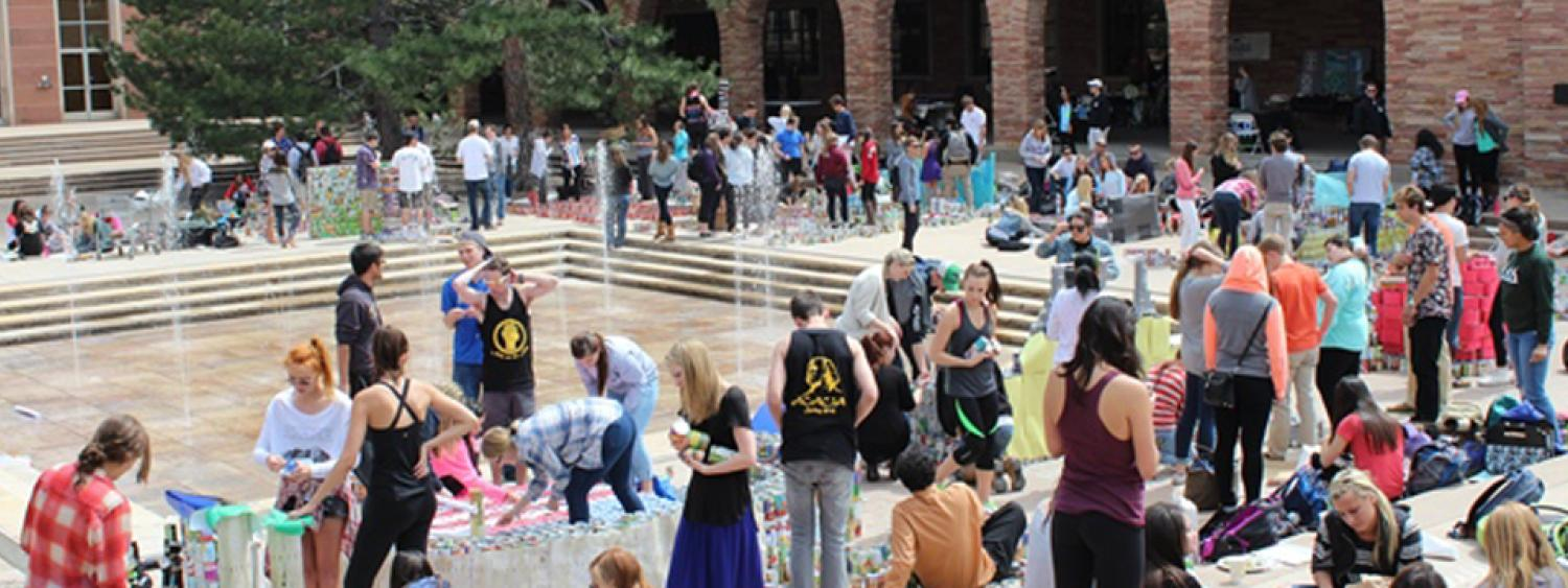 Many students visit the UMC between classes and learn about campus events and services at tables set up outside by the UMC fountains.