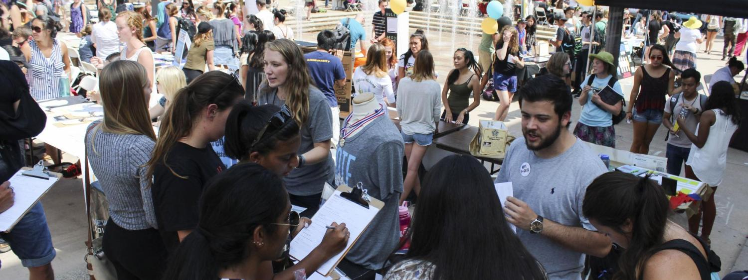 CU Boulder students visit the Student Involvement Fair to learn about campus