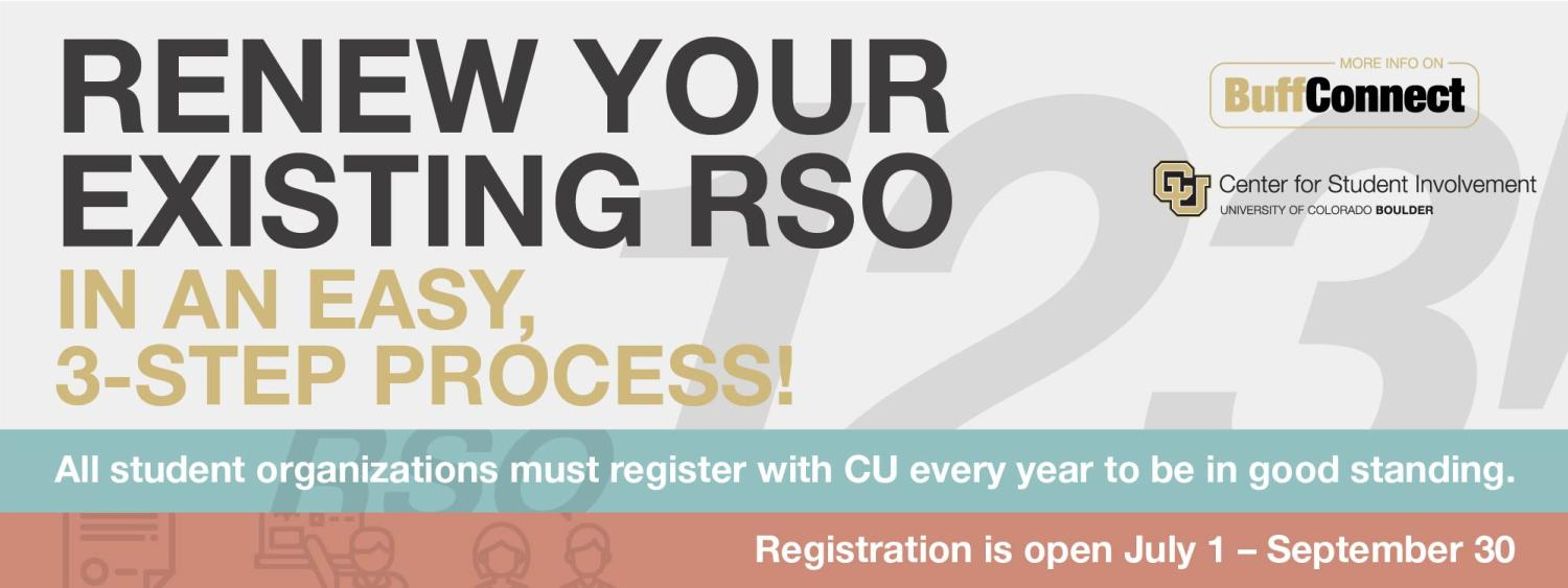 Renew your existing RSO in 3 easy steps. Registration is open July 1-September 30.