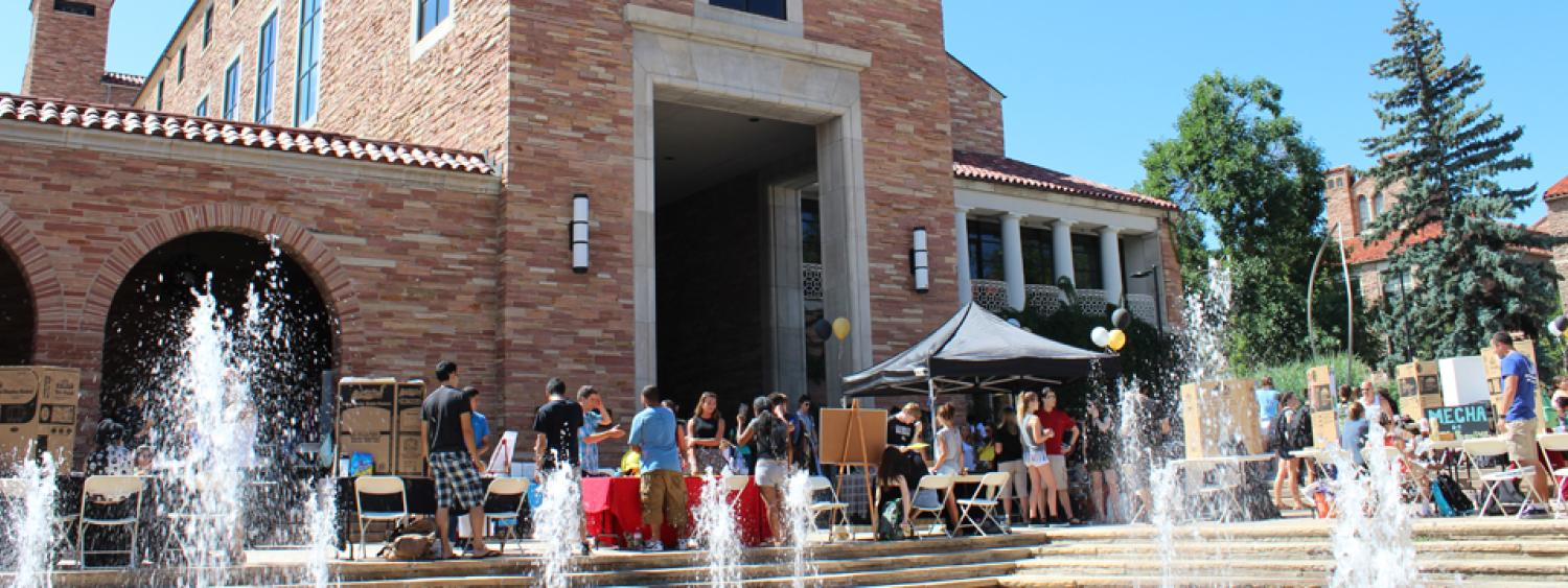 The UMC fountain area is a favorite place for groups to hold outdoor events.