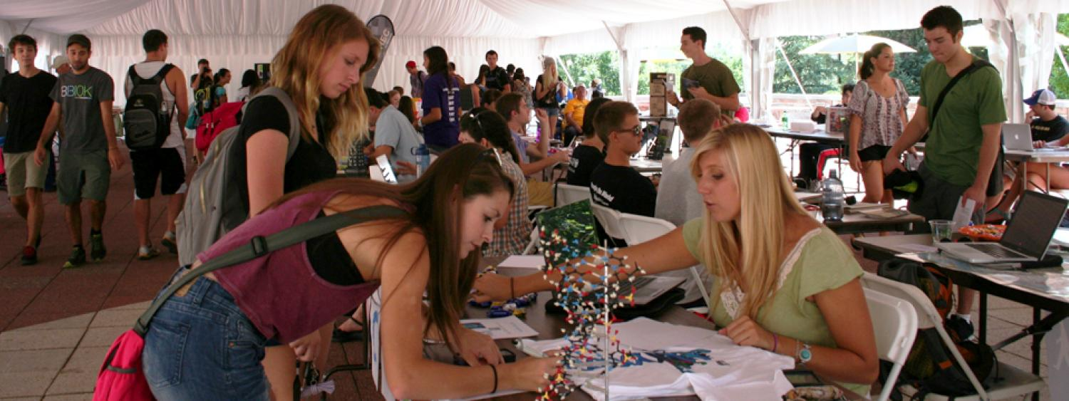 Students go to the Student Involvement Fair to learn how they can get involved outside of the classroom. With over 100 student clubs and groups, there's a lot a variety to select from!