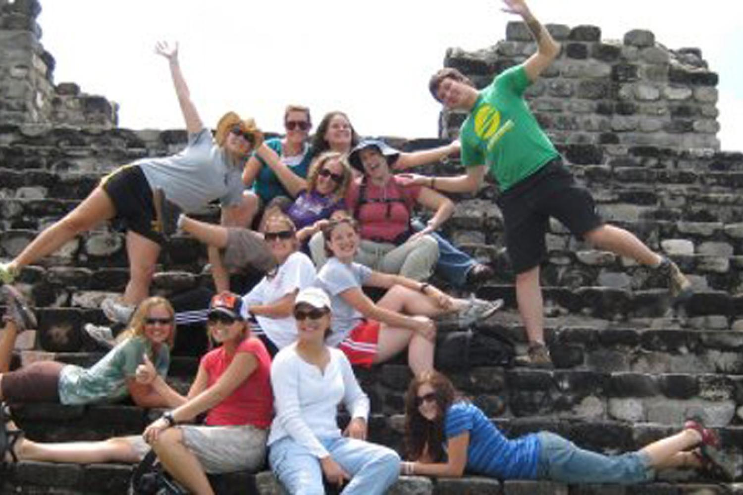 Group of students on some steps in Central America