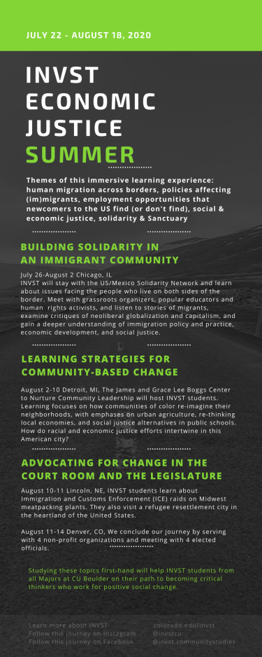 Infographic of itinerary for the economic justice summer 2020