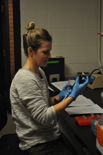 Student doing research in the Ehringer lab