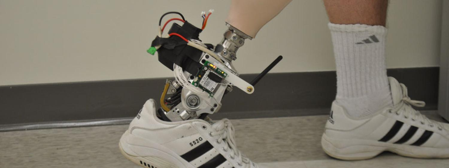 People with a leg amputation using this powered ankle-foot prosthesis are able to normalize their metabolic cost and biomechanics during level-ground walking