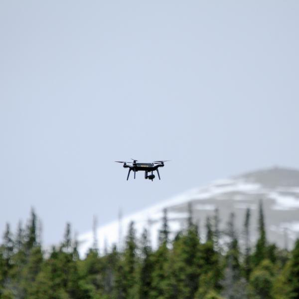 The 3DR Solo flying over the forest canopy