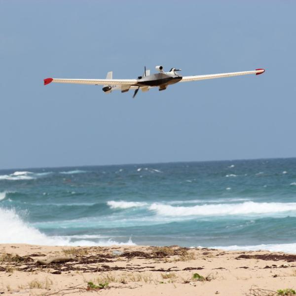 RAAVEN UAS flying over the beach in Barbados for project ATOMIC (2020)