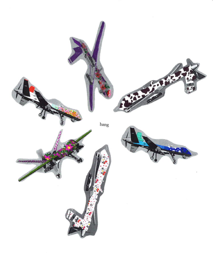 Several colorful drones pointing to the word bang.
