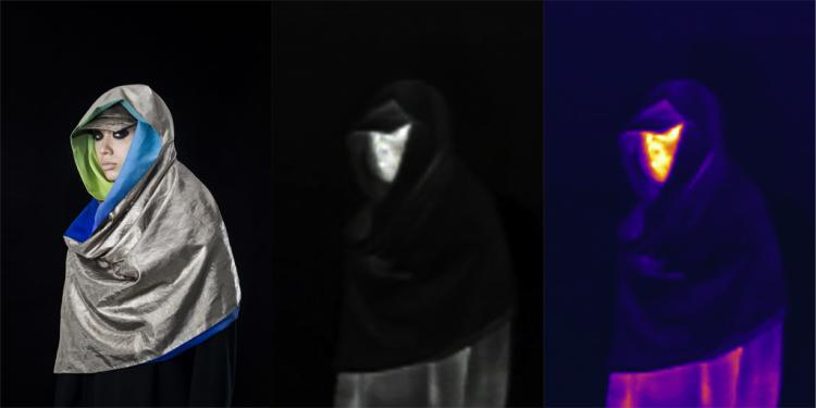 A woman models a scarf in regular light, black and white, and infrared.