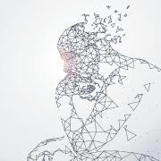 Graphic of a digital man thinking and dissolving
