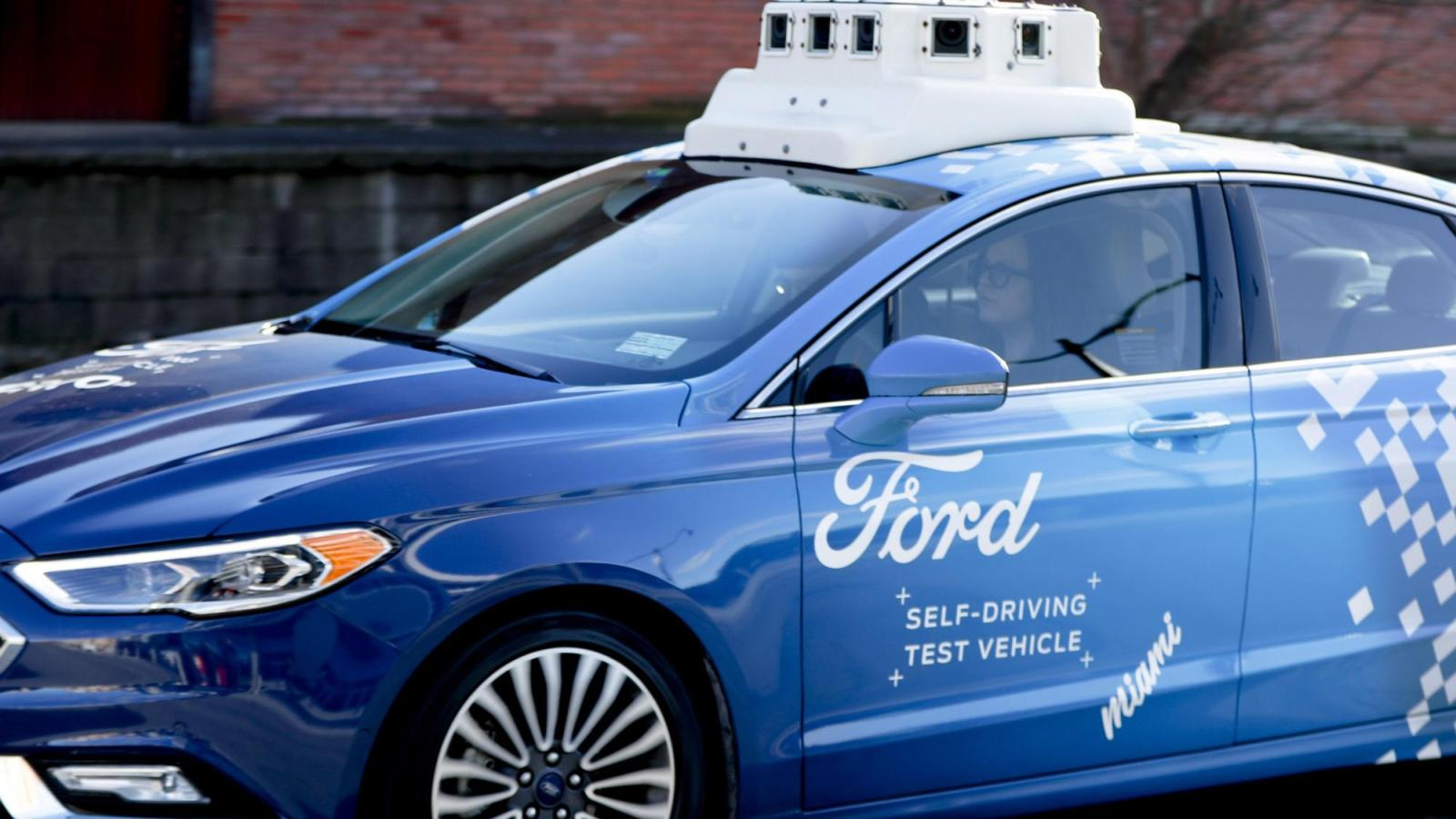 A Ford automated test vehicle and safety driver