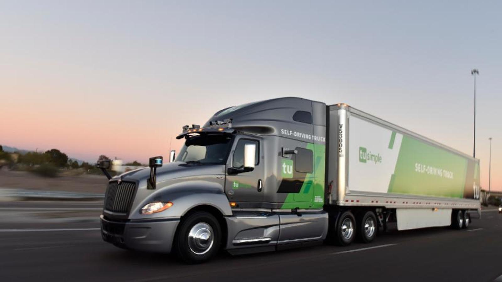Autonomous truck delivering mail