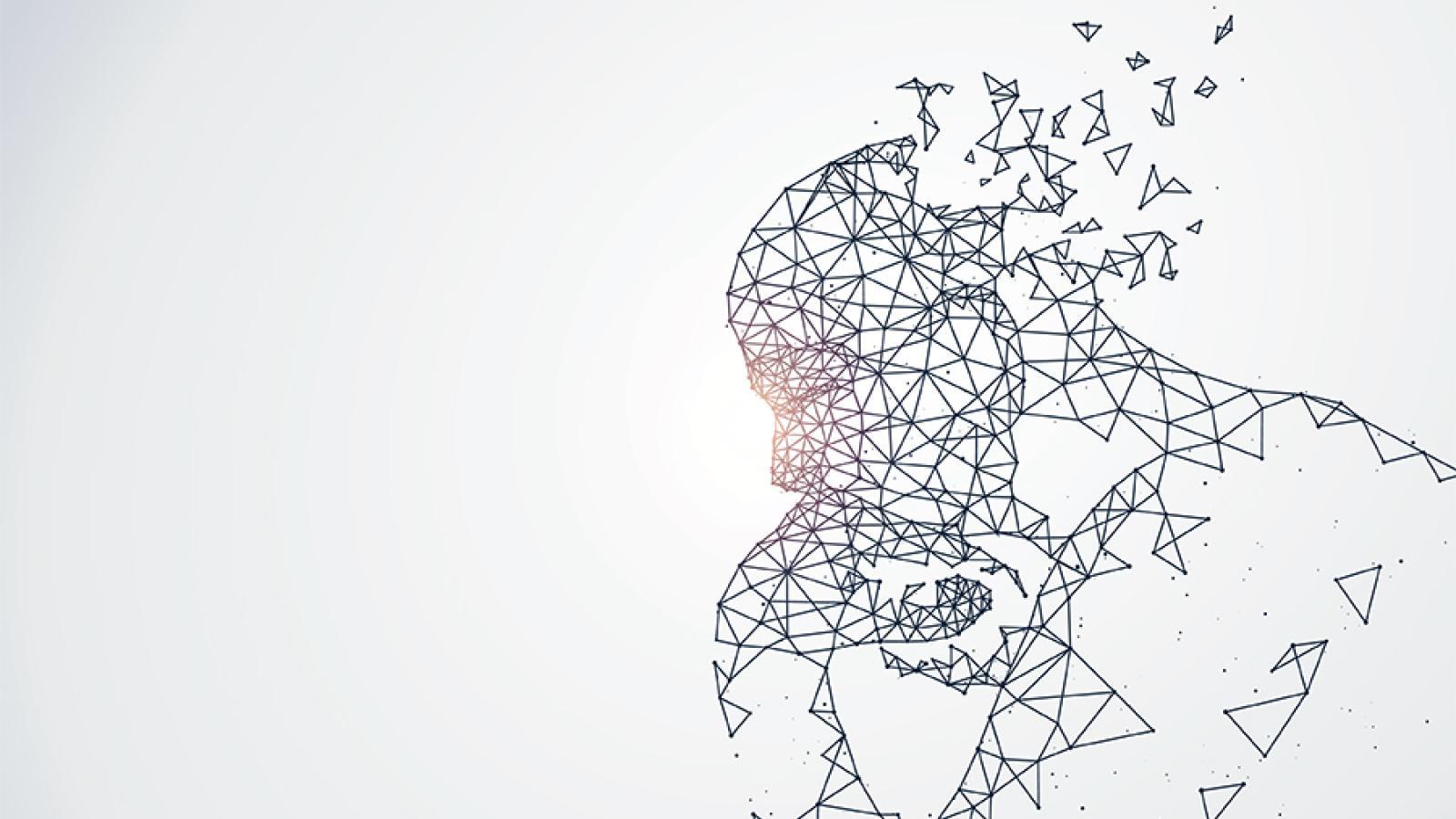 Computer generated man thinking and disintegrating