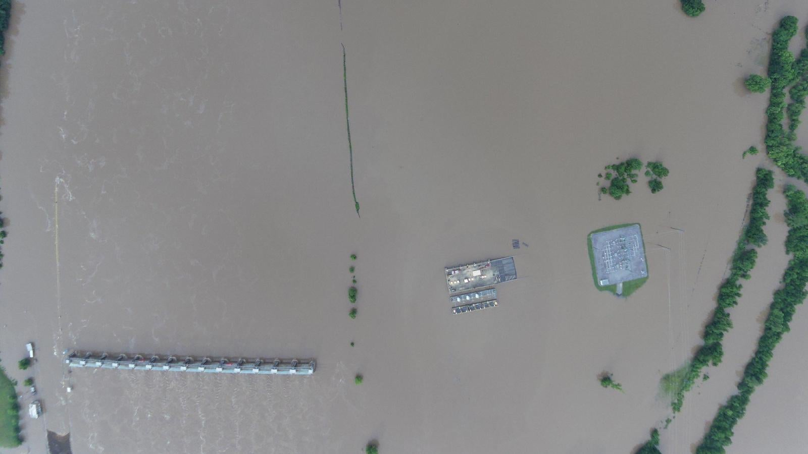 Overhead view of flood damage