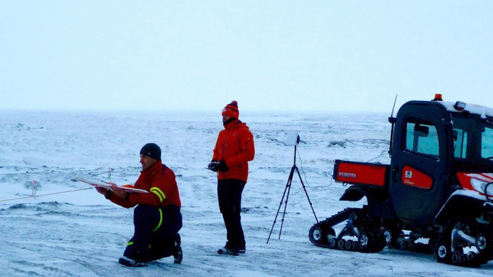 CU Researchers testing a drone in Alaska