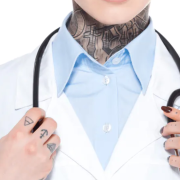 A doctor with tattoos