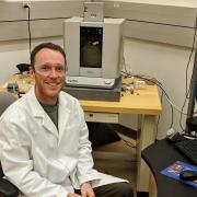 Tobin Brown at his new job in the lab