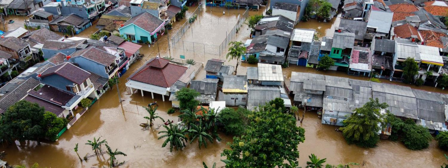 Houses seen from above after flooding