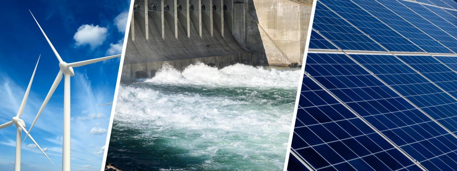 Wind farm, water and solar energy