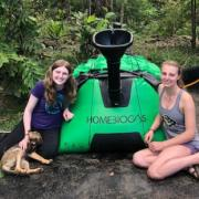 Kate Tomlinson and Claire Buttler in Bahia with the Biogas Digester