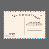 Postcard addressed to international students and scholars