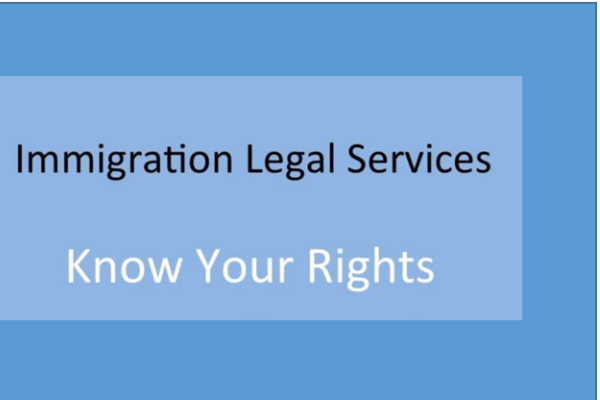 Immigration Legal Services Know Your Rights text on light blue background