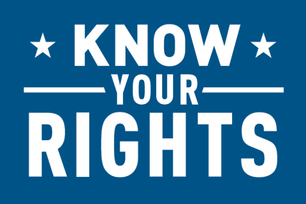 Know Your Rights text on blue background