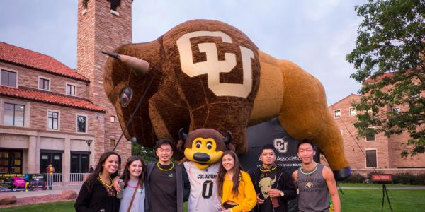 Students Standing with Inflatable Ralphie Buffalo