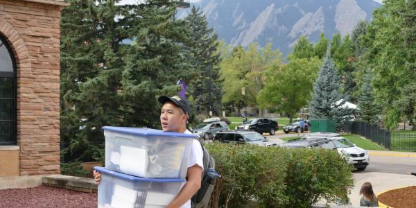 Student Moving In to Residence Hall