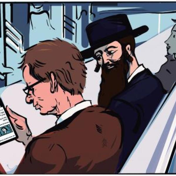 Illustration of Forverts readers on a subway
