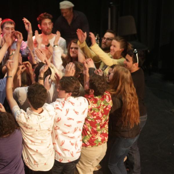 Students dancing at Hebrew Shmooze-A-Palooza
