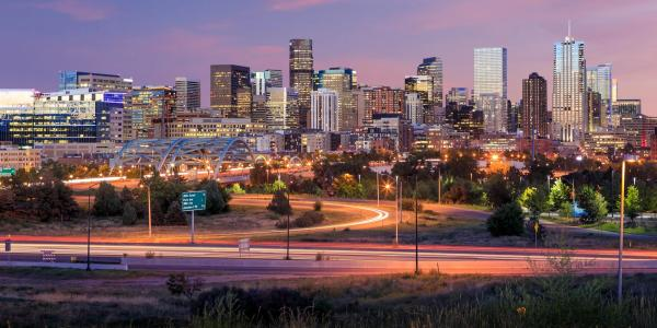 City view of Denver skyline  at night.