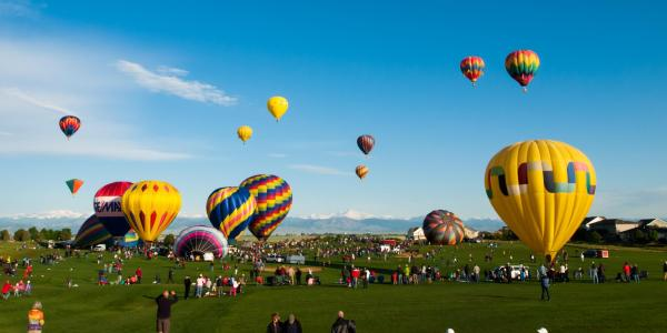 Hot air balloon festival in the town of Erie.