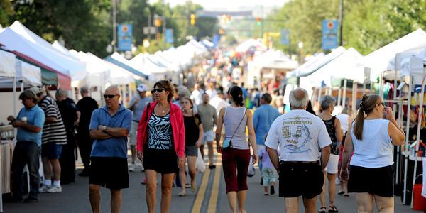 Shot of street during Peach Festival in the town of Lafayette.