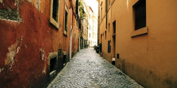 Cobblestone street in Europe.