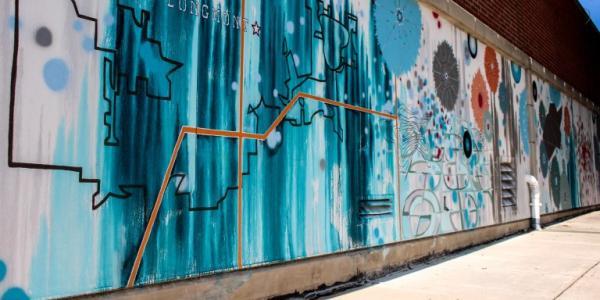 Street mural art in the town of Longmont.