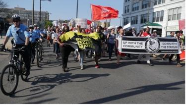 Community and Temple Activists March to City Hall with Stadium Stompers
