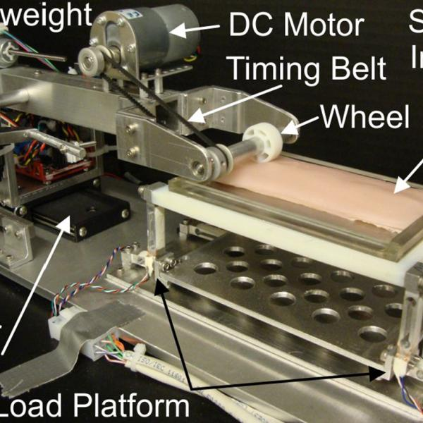 Automated Traction Measurement System used to measure tractive forces of micro-patterned wheels