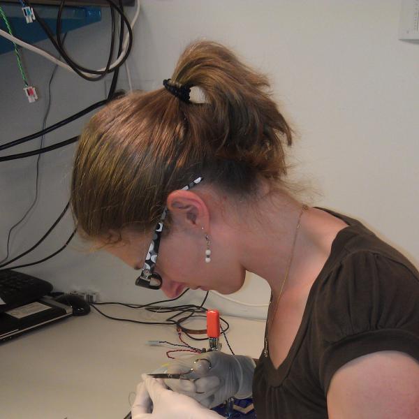 Anna preparing samples.