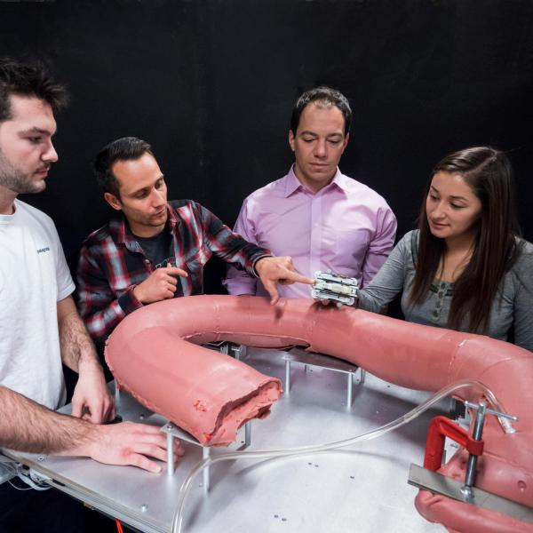 Colon simulator for the RCE in the AMTL (Pictured Levi Pearson, Greg Formosa, Mark Rentschler, Kristin Calahan).