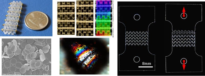 A set of 5 images. The first shows a row of clear glass a little bit longer than a nickel. The second shows three rectangular patterns, the first two are black and gold, and the last has a rainbow filter over it. The second image shows a scale like texture with a pile of round gray shapes. The fourth image is black with bright colors in the center. The last image is a diagram of showing the strength of a material.