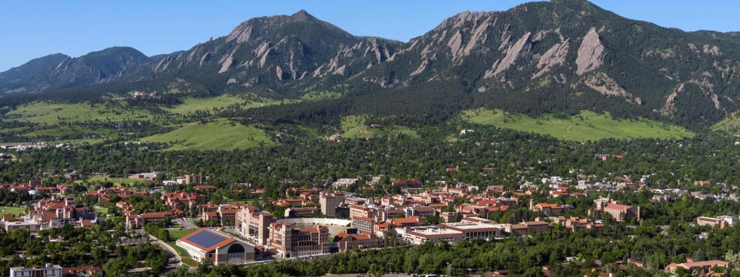 Aerial view of CU Boulder and foothills