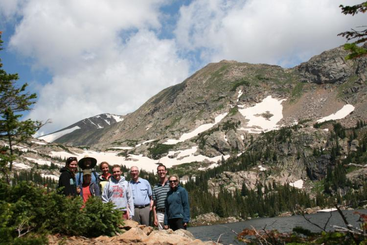 Lab group in front of the mountains